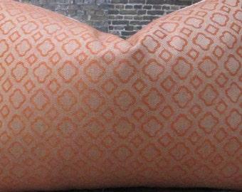 Designer Pillow Cover  - Lumbar, 16 x 16, 18 x 18, 20 x 20, 22 x 22, 24 x 24  Quatrefoil Orange