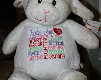 CHD, personalized  Lamb Warrior Pet, stuffed animal, warrior pet