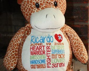 CHD, Giraffe Warrior Pet, personalized, stuffed animal
