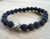 Black Lava Stones One Pyrite Nugget Stretch Bracelet