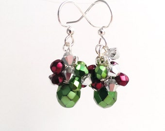 Green Christmas Earrings, Festive Holiday Colors Cluster Earrings, Dainty Green and Red Holiday Earrings, Christmas Ornament Jewelry
