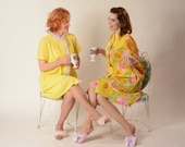 Vintage 1960s Yellow House Dress - Dotted Swiss Model Coat - Lingerie Fashions Size M