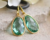 Large Green Simplicity Drop Earrings - Erinite Faceted Glass Teardrop in Gold. Big Gold Earrings.  Fashion Earrings. Gift for Her.