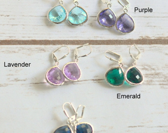 Simplicity Drop Earrings in Silver - Choose Your Color. Dangle. Custom Earrings. Simple Earrings.  Drop Fashion Earrings. Gift for Her.