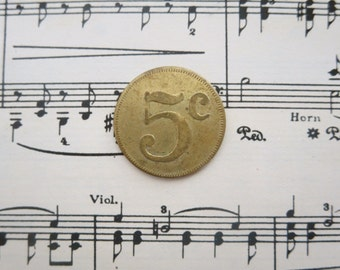 "7/8"" 1950s Vintage Brass Carnival Token Numbered Five Cents Nickel"