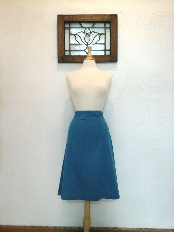 teal a line skirt vintage 70s 80s turquoise skirt m l