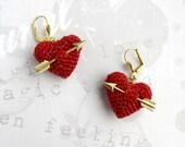 Valentine's Earrings crochet red heart and arrow..love earrings