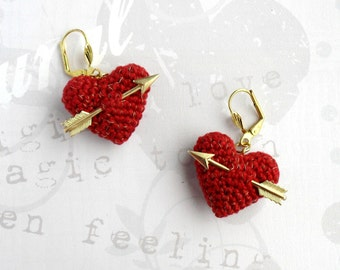 Valentine's Earrings crochet red heart and arrow..love earrings