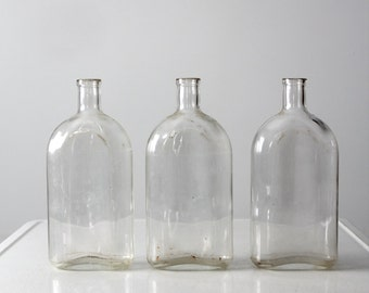 vintage Pyrex apothecary bottle collection, 3 large bottles