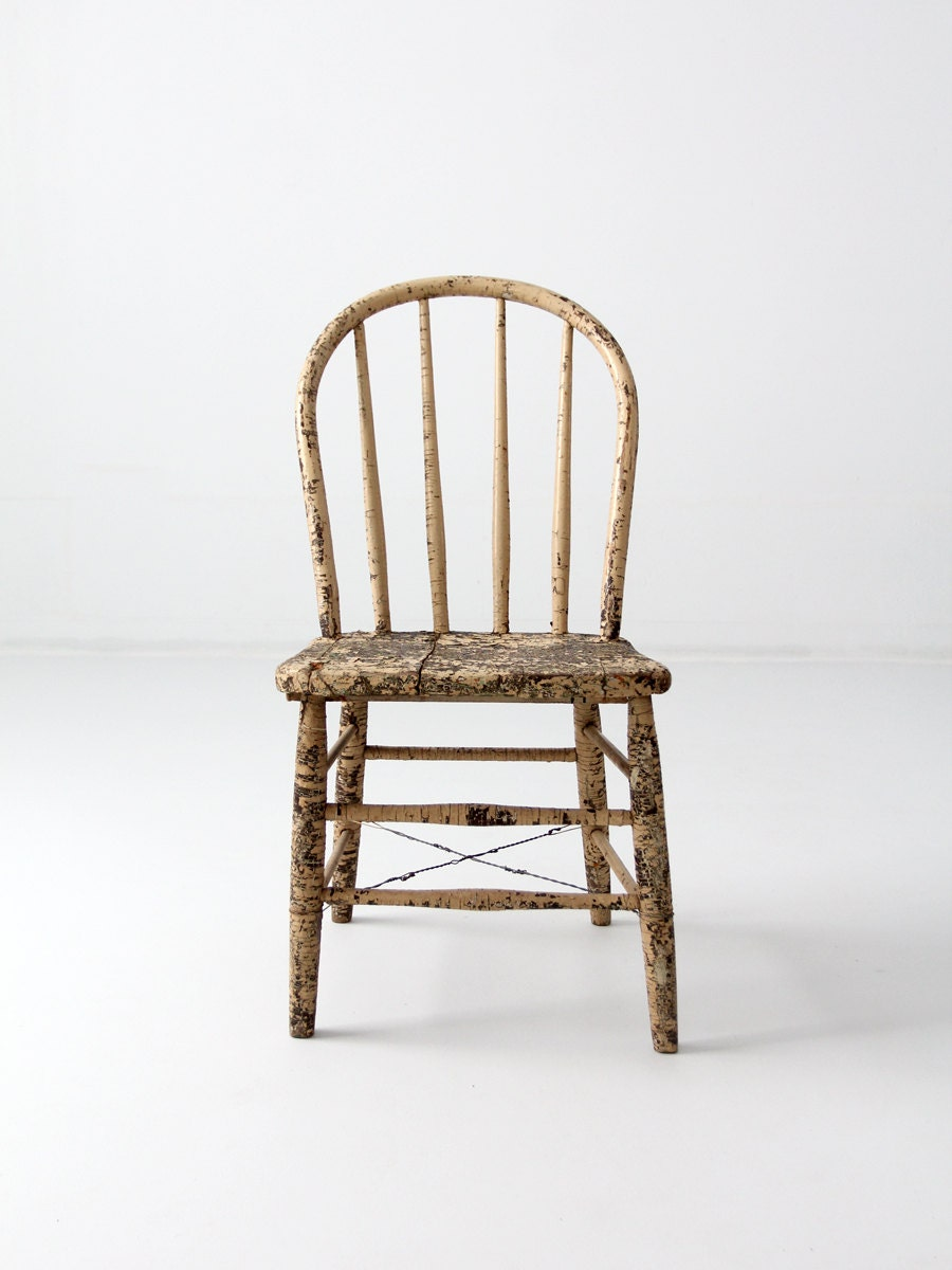 Antique Primitive Spindle Back Chair Rustic Farmhouse Chair