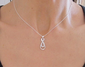 CZ Double INFINITY Eternity sterling silver pendant with chain/necklace, eternal love necklace