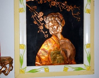 Hollywood regency vintage picture frame with Chinoiserie copper picture of Geisha girl and flowers