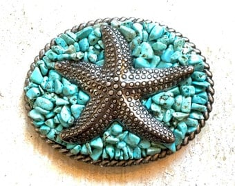 Antique Silver Starfish Embedded in Turquoise Stones Belt Buckle