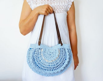 BAG // Blue Shoulder Bag Boho BagTriangle Bag Tribal Bag Summer Bag Hand Bag Handmade Bag Hobo Bag
