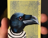Crow on a playing cards. Original acrylic painting. 2012