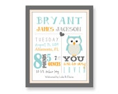 baby birth print with owl birth art print new baby announcement personalized baby prints birth stats baby stats