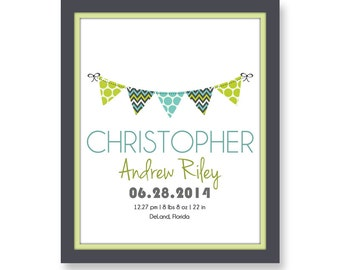Baby Birth Print, Personalized Birth Print, Wall Art, Bunting Birth Print