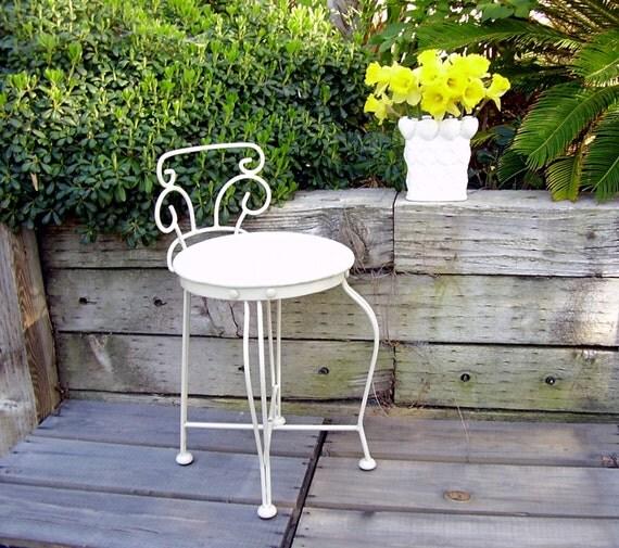 Vintage Vanity Chair White Metal Seat Powder Room Stool