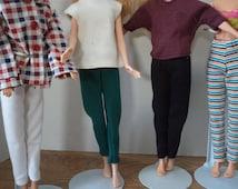Leggings Black, White, Green, Purple, or Stripe for 11 1/2 inch fashion dolls