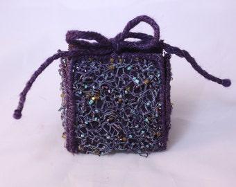 Gift box trinket box eggplant purple aqua teal gold beaded jewel box bridesmaid gift box wedding favor jewelry gift box christmas gift box