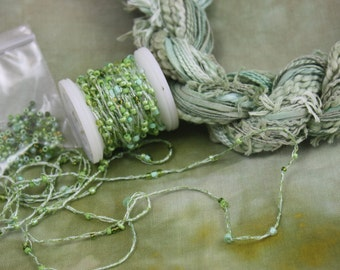 Leaf Green Space Dyed Cotton Fat Quarter Fabric with Embroidery quilting thread sewing fabric beaded yarn fiber art embellishment