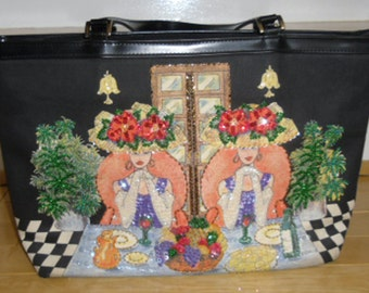 Vintage Purse - Braciano Handbag, Two Ladies, Fancy Ladies at Table, Sequins and Beads, Fruit and Wine, Two Handles, Tote Bag