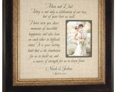 Burlap Wedding Gift Anniversary Gift Wedding Date Couple's Names Last Initial Personalized Wedding Burlap Photo Frame Custom Made 16x16