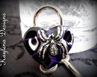Spider, Large Heart Lock,   Lock, BDSM Lock, lock and key, locking Jewlery, halloween Jewelry