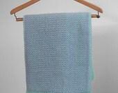 Hand Knit Baby Blanket, Baby Shower Gift, Knit Afghan, Blue Knit Blanket, Green Afghan, Crib Blanket