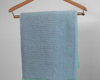 Knit Baby Blanket, Baby Shower Gift, Knit Afghan, Blue Knit Blanket, Hand Knit Afghan, Crib Blanket, Blue Baby Blanket, Mint Baby Blanket