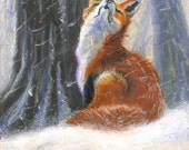 "Fox Art Print - Vixen Sniffs the Snow - 6 x 8.5"" Children's Illustration"