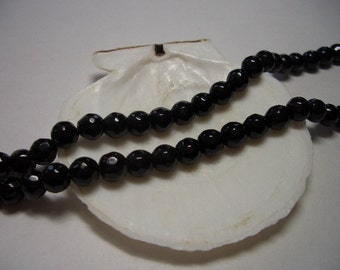 Sale, black Agate beads, round ca. 6mm, faceted, natural gemstone beads, 6mm gemstone beads, Agate, black, 6mm beads, faceted gemstone