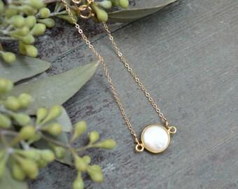 Pearl Bezel Necklace