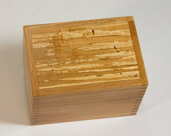 Recipe card file box crafted of colorful, spalted red alder.