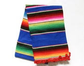 Luxury Glamper Pom Medium Serape Mexican Cinco de Mayo Striped Throw Picnic Blanket, Royal Blue/Red