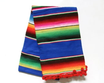 Luxury Glamper Pom Medium Serape Mexican Cinco de Mayo Striped Throw Picnic Blanket, Royal Blue/Red