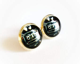 Cassette Tape Earrings - Black and White Earrings - Tape Studs - Cassette Tape Studs