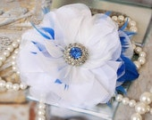 Sale - White Hair Flower, Blue Rhinestone Crystal Hair Piece, Hair Accessories, Wedding Hair Flower, Feather Flower Fascinator Hair Clip