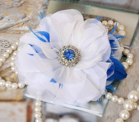 Sale - White Hair Flower, Blue Rhinestone Crystal Hair Piece, Hair Accessories, Wedding Hair Flower, Feather Flower Fascinator Hair Clip