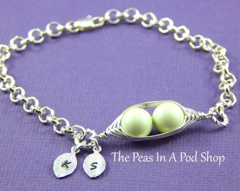 Two Peas In A Pod Personalized Silver Bracelet With Hand Stamped Leaves Pastel Green
