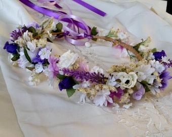 Purple flower girl halo lavender white hair wreath custom wedding Accessories flower crown photo prop headband fall bridal party autumm