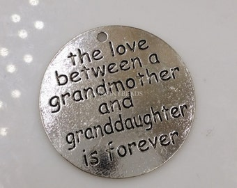 the love between a grandmother and grandaughter circle charms 14 pcs-F1396