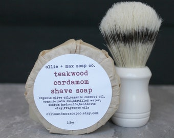 Teakwood Cardamom Shave Soap,Cold Process Soap, Bentonite Clay, Soap for Him, Organic Soap