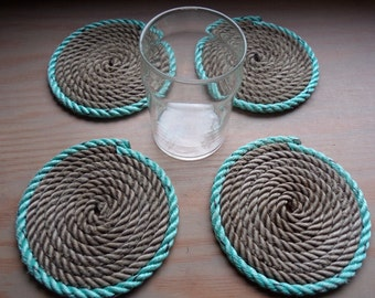 SET OF 4 Rope Coasters Choose from 3 Color Choose Nautical Decor Green Blue Gray Natural