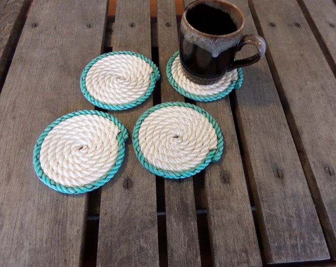 Nautical Coasters Set of 4 White with Green Trim Coastal Beach Rope Coasters Nautical Decor