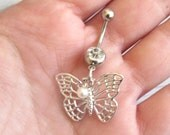 Butterfly Belly Button Ring - Navel Ring - Belly Ring - Belly Button Jewelry - Navel Jewelry - Body Jewelry - Body Piercing - Navel Piercing