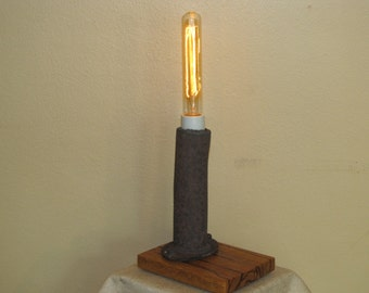 Found Metal Artifact Lamp 236 With Vintage Style Light Bulb  PUR
