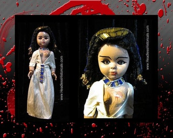 Egyptian Queen Cleopatra - Suicide by snake bite. Gruesome effigy doll by Headless Historicals.