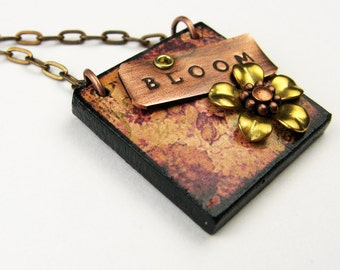 "Flower Necklace - Boho Jewelry with Wood Square Pendant, Metal Flower, Stamped Inspirational Word (""Bloom"") for Nature Gift"