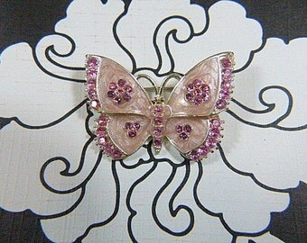 Vintage Pink Rhinestone and Glass Butterfly Brooch - BUT-41 - Pink Butterfly Brooch - Rhinestone Brooch - Pink Butterfly Rhinestone Brooch